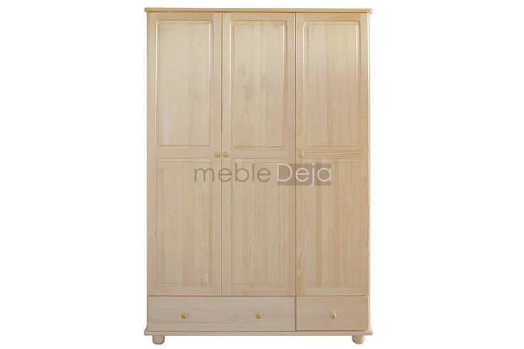 Szafa drewniana sosnowa[7] Szafa wykonana w całości z drewna sosnowego. Jedynie na tyłach i dnach szuflad montowana jest płyta pilśniowa. Elementy są w 100% drewniane, fronty mebli wykonane są z bezsęcznego drewna sosnowego. W drzwiach zamontowane są zawiasy puszkowe charakteryzujące się dużą wytrzymałością. Szuflady posiadają metalowe prowadnice rolkowe. Produkt dostępny w pełnej gamie kolorystycznej. Wymiary zewnętrzne: szerokość: 131cm, wysokość: 190cm, głębokość: 57cm