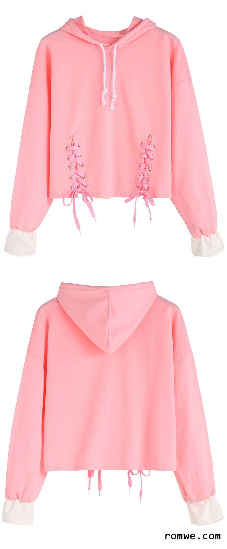 Pink Dropped Shoulder Seam Lace Up Drawstring Hooded Sweatshirt