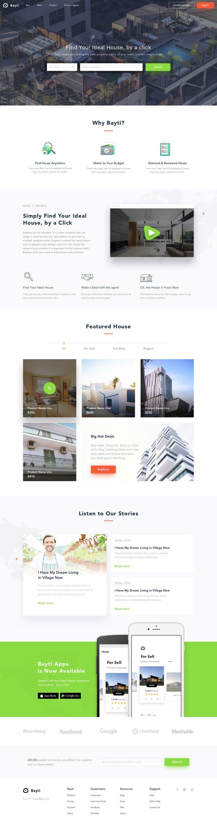 Bayti: Find Peoperties Landing Page - by Sebo   #ui #webdesign #properties