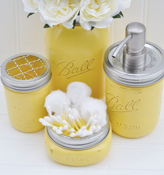 Recreate With Some Of The 90 Mason Jars Left Over From The Wedding Grey Yellow Bathroomsyellow Bathroom Decorbathrooms