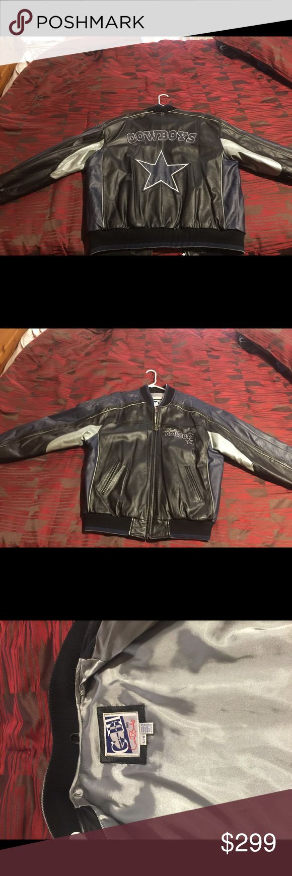 Man Dallas Cowboys jacket ! Almost brand new. Wear couple times but still good. It's a real leather jacket with Dallas convoy star on the back man  Jackets & Coats
