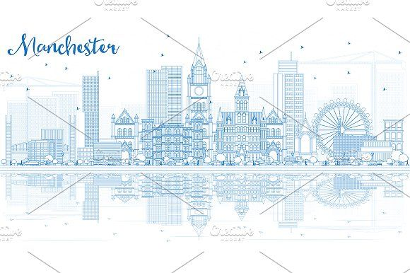 #Outline #Manchester #Skyline  by Igor Sorokin on @creativemarket