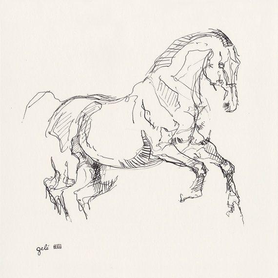 Original tinta y pluma de dibujo de un caballo en por benedictegele