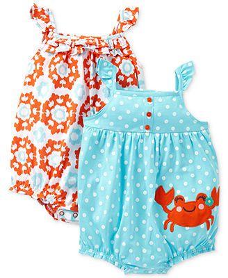 Carter's Baby Girls' 2-Pack Sleeveless Romper Set