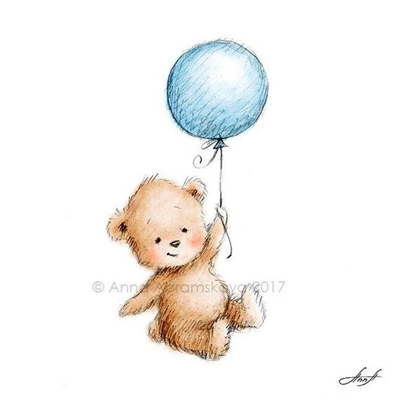 Watercolor And Pencil Drawing Of Teddy Bear With Balloon