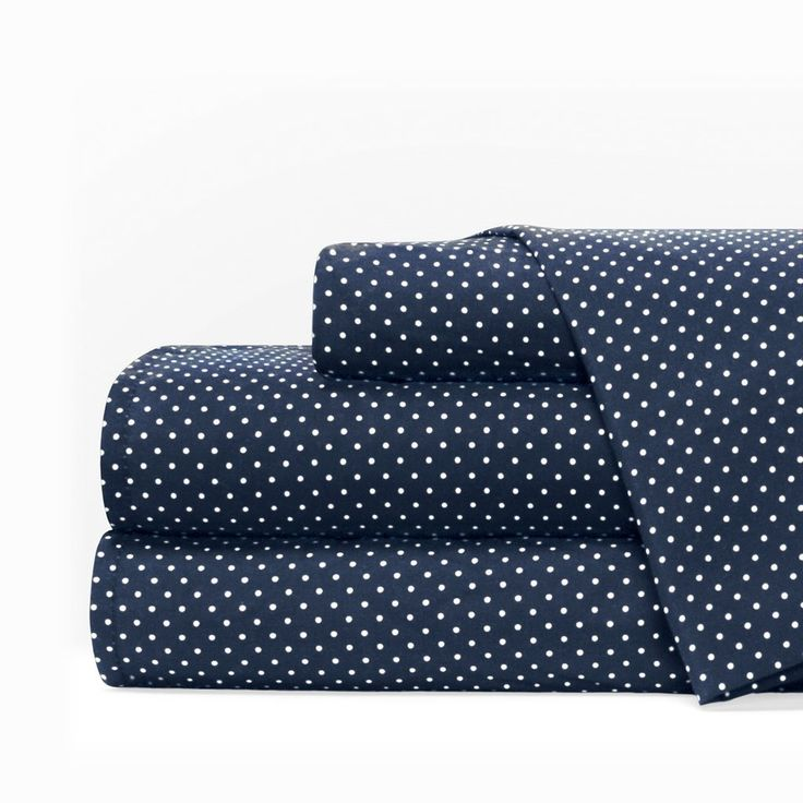 Egyptian Luxury 1600 Series Hotel Collection Pindot Pattern Bed Sheet Set - Deep Pockets, Wrinkle and Fade Resistant, Hypoallergenic Sheet and Pillowcase Set - Queen - Navy/White