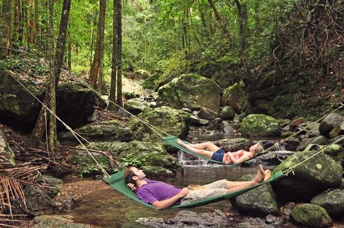Hammocks over the creek in stunning rainforest - we think yes. Crystal Creek Rainforest Retreat #honeymoonheaven