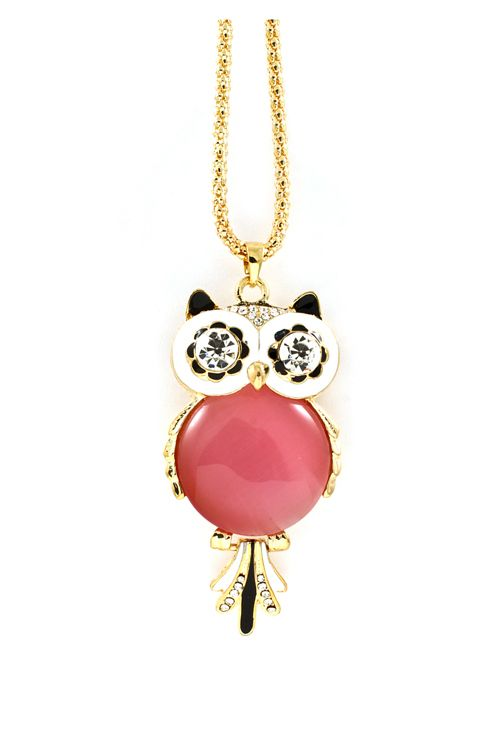 Crystal Owl Pendant in Blush Lucite