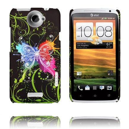 Valentine (Sentrert Regnbue Sommerfugl) HTC One X Deksel