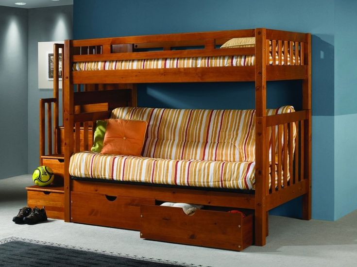 Our medium wood bunk bed with futon and stairs is crafted with durable pine wood and features a classic design that will make a great addition to any bedroom. This bunk bed has a twin bunk bed on top