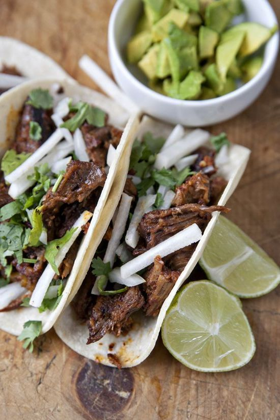 Lamb Barbacoa with Chile Colorado Sauce & Avocado Tacos