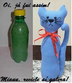 Reciclagem garrafa pet em gato