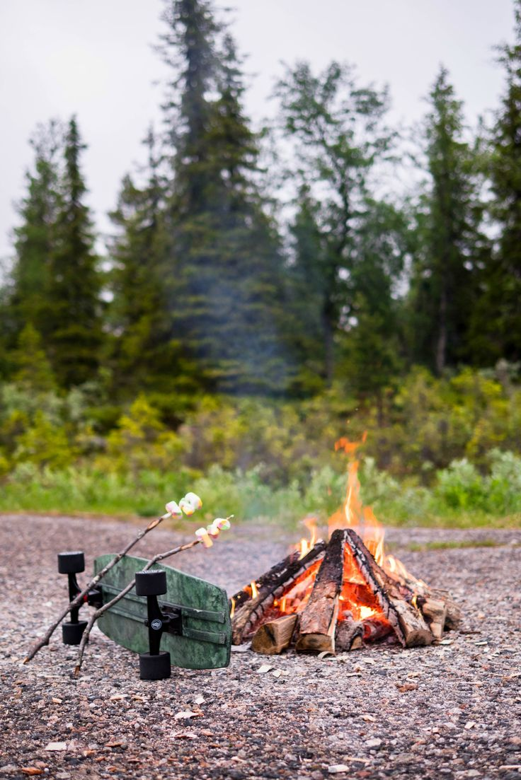 Simple living lifestyle inspiration and ideas. Fire and smores. Camping, hiking and skating in Norway in the Summer.