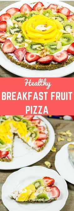 This breakfast pizza is made with a nutty cereal crust then topped with Greek yogurt and fruits. It is a healthy quick and easy breakfast recipe. #CerealAnytime #PrizesWithPost #Ad