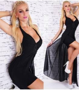 Κομψό μίνι φόρεμα με ουρά-black