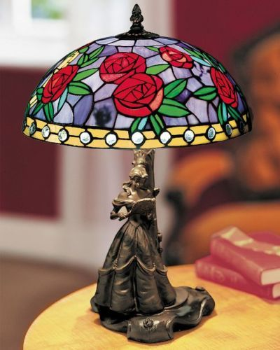 Disney-Beauty-the-Beast-Stained-Glass-Tiffany-Style-Lamp-LTD-ED-RETIRED