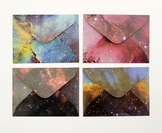 DIY galaxy envelopes from old astronomy magazines.