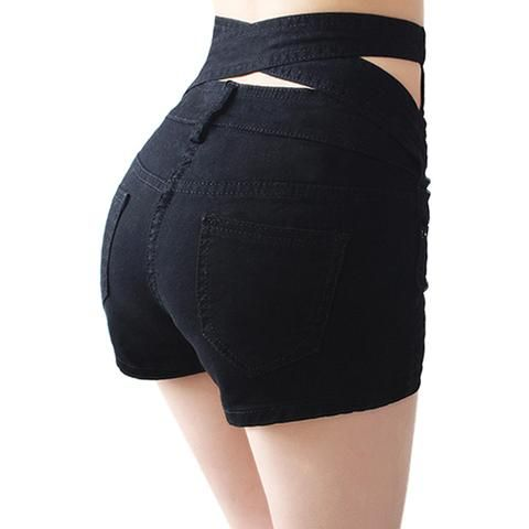 Hollow Out Black Skinny High Waist Shorts 2016 Summer New Women White Slim Sexy…