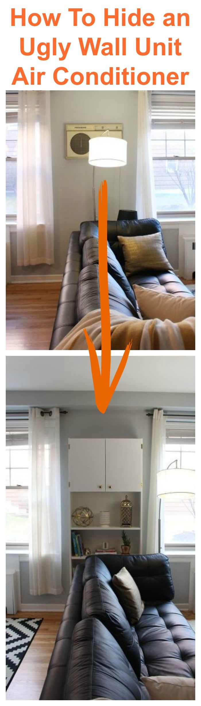 This is such a genius idea to hide an ugly wall unit air conditioner.