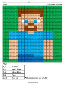 Minecraft-themed coloring activity for basic and advanced multiplication and division.