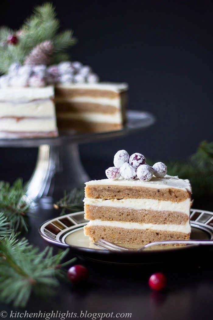 Gingerbread Cake with Cream Cheese Frosting and Candied Cranberries