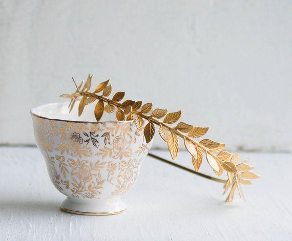 OR feuille bandeau Golden Leaf mariage Grecian par redtruckdesigns