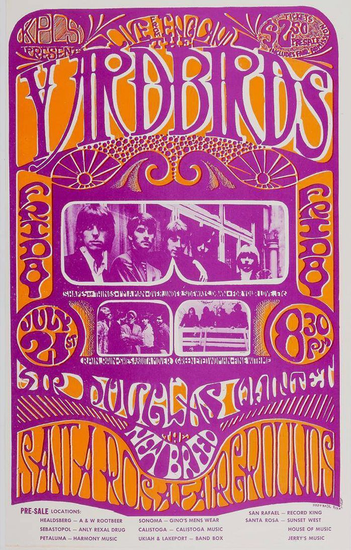 The Yardbirds 1967 Santa Rosa Concert Posters Vintage Concert Posters Psychedelic Poster