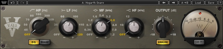 Waves V-EQ3. Based on the Neve 1073 EQ. AWESOME for vocals. Thick, full and rich!