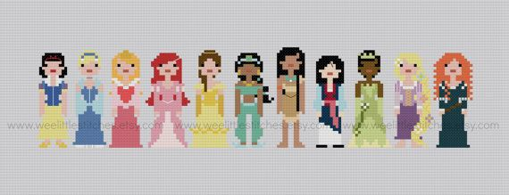 Disney Princesses - PDF Cross-stitch Pattern - INSTANT DOWNLOAD via Etsy.