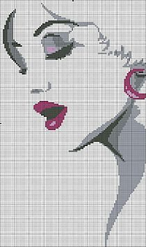 0 point de croix visage de femme - cross stitch woman lady's face
