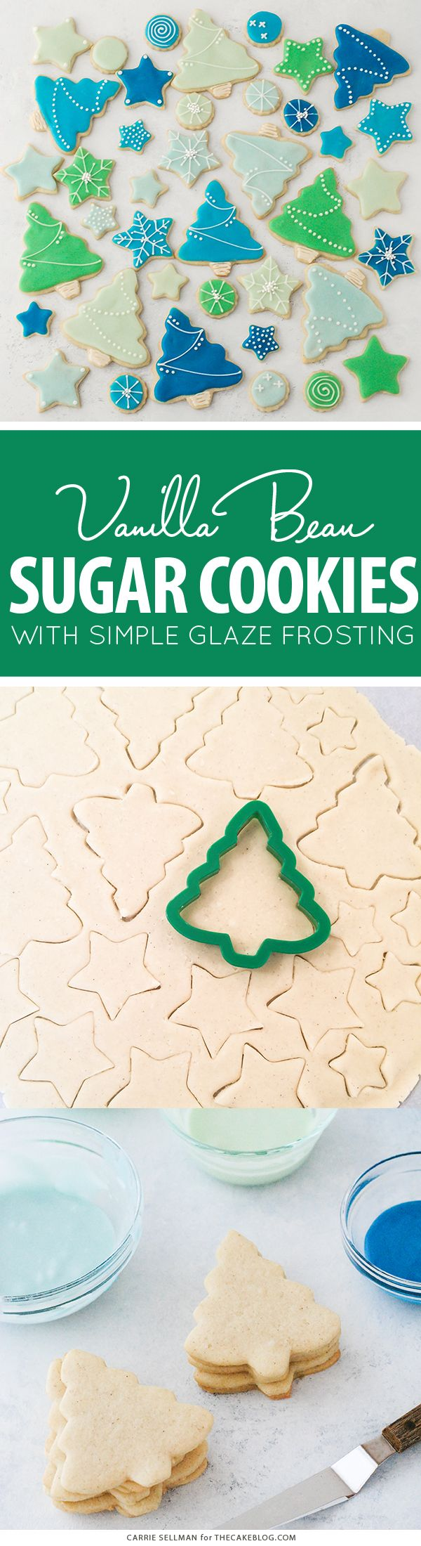 Decorated Sugar Cookies - vanilla bean sugar cookies with a simple glaze icing for easy yet thoughtful gift giving | by Carrie Sellman for The Cake Blog | AD @BobsRedMill #Bakesgiving