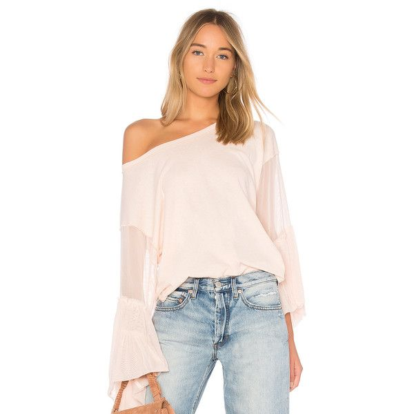 Free People Still Got It Tee (€59) ❤ liked on Polyvore featuring tops, t-shirts, curved hem t shirt, sleeve top, rounded hem t shirt, curved hem tee and free people tops