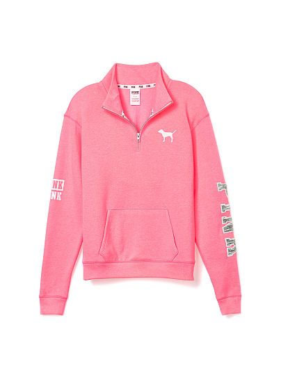 https://www.victoriassecret.com//pink/new-and-now-must-have-marl/boyfriend-half-zip-pink?ProductID=216266&CatalogueType=OLS&search=true This but in White