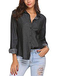 New OD'lover Women's Casual Button Down Long Sleeve Chambray Denim Pocket Shirt online. Find the perfect Thread Tank Tops-Tees from top store. Sku RLRD37367WHOR68685
