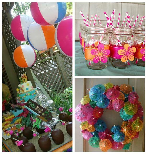 Creative tropical centerpieces ltor pool party decor