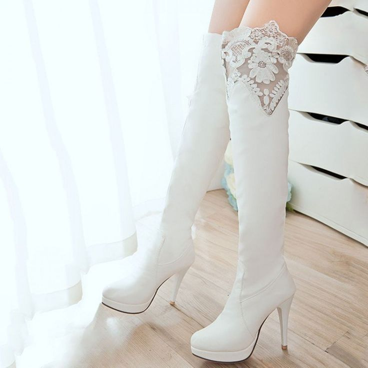Lace Thigh High Boots Platform High Heels Spike Shoes Woman 3278 3278