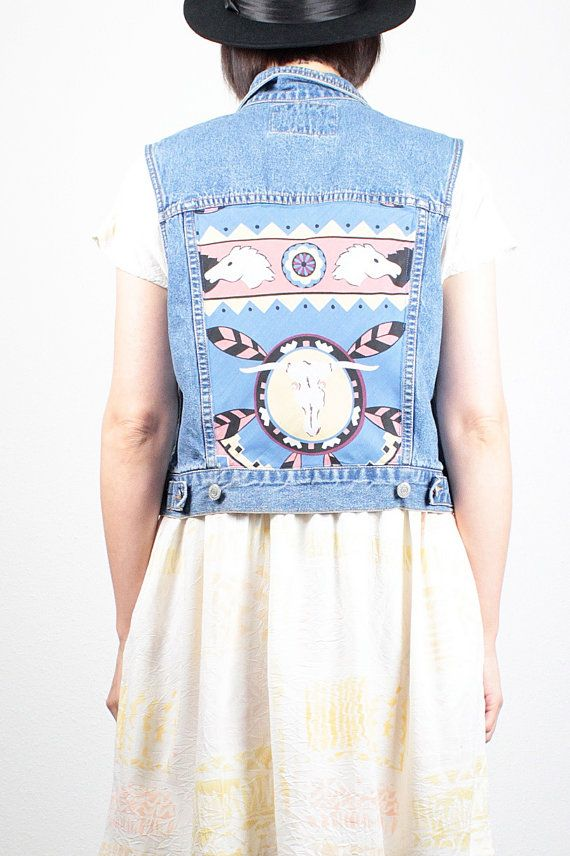 Vintage Custom Levis Denim Vest Blue Jean by ShopTwitchVintage