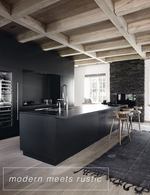 These 2 black kitchens just make me heart sing. I love the first one, that modernises a barn...