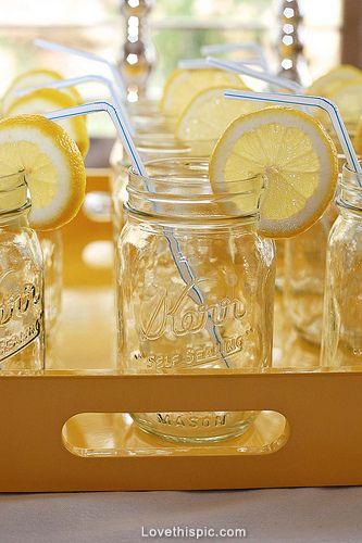 Lemon glasses wedding drinks decor outdoors country