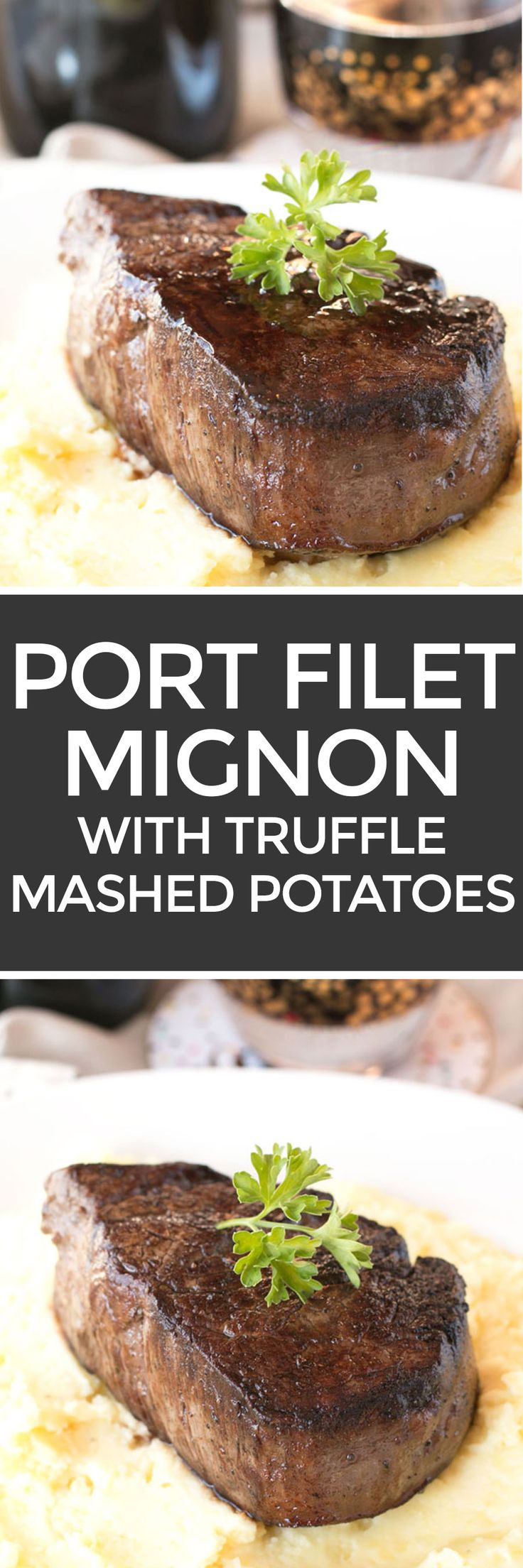 Filet Mignon with Port Sauce and Truffle Mashed Potatoes – Cake 'n Knife