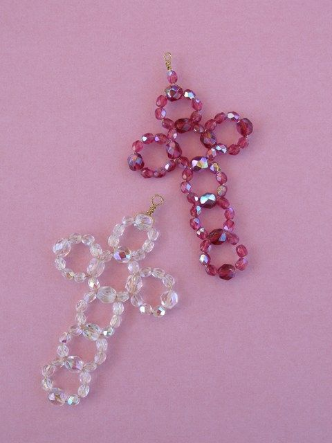 seed bead cross pattern | These crosses are made with pressed glass beads (4mm and 6mm) and 28 ...