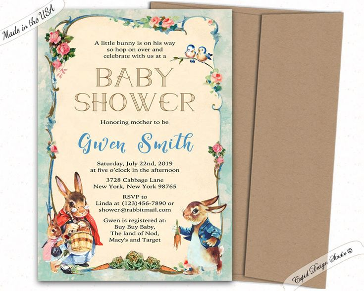 Peter Rabbit Baby Shower Invitation   Peter Rabbit Invitations   Digital  Printable Or Printed   Beatrix