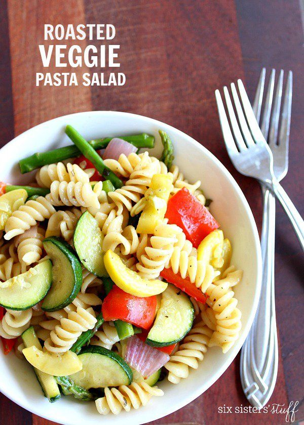 Roasted Veggie Pasta Salad is the perfect way to sneak in a few vegetables to your meal!