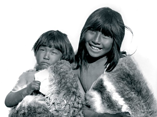 "2 Selknam or Ona children in 1898. ""The Selk'nam, also known as the Onawo or Ona people are an indigenous people in the Patagonian region of southern Argentina and Chile, including the Tierra del Fuego islands"""