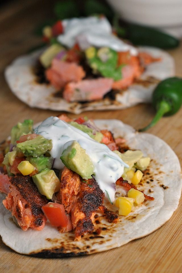 Blackened Salmon Tacos  with Corn Salsa + Cilantro-Lime Ranch #recipe #tacotuesday