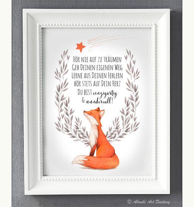 Liebevoll designter Kunstdruck im **DIN A4 Format** mit Fuchsmotiv und Statement ♥ **Hör nie auf zu träumen geh Deinen eigenen Weg lerne aus Deinen Fehlern hör stets auf Dein Herz Du bist...