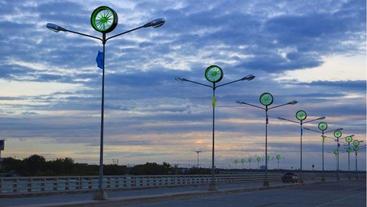Greenlight District  Plan voor straatverlichting met windturbines in Haarlemmermeer