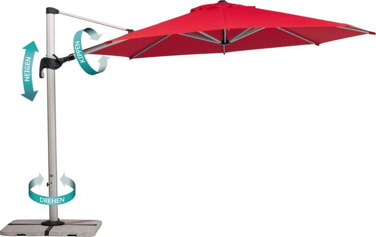 Sonnenschirm SCHNEIDER Barbados Ø350cm Ampelschirm Barbados in drei Dimensionen verstellbar Perfekter Sonnenschutz von früh bis spät durch drei Verstellmöglichkeiten: Drehen, Kippen, Neigen. Der Schirm kann durch diese Funktionen fest im Boden verankert werden und bietet trotzdem den kompletten Tag Sonnenschutz an der gewünschten Stelle.