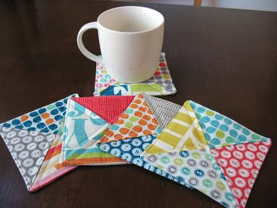 quilted coasters, tips include how to sew one continuous line to give them a finished look.
