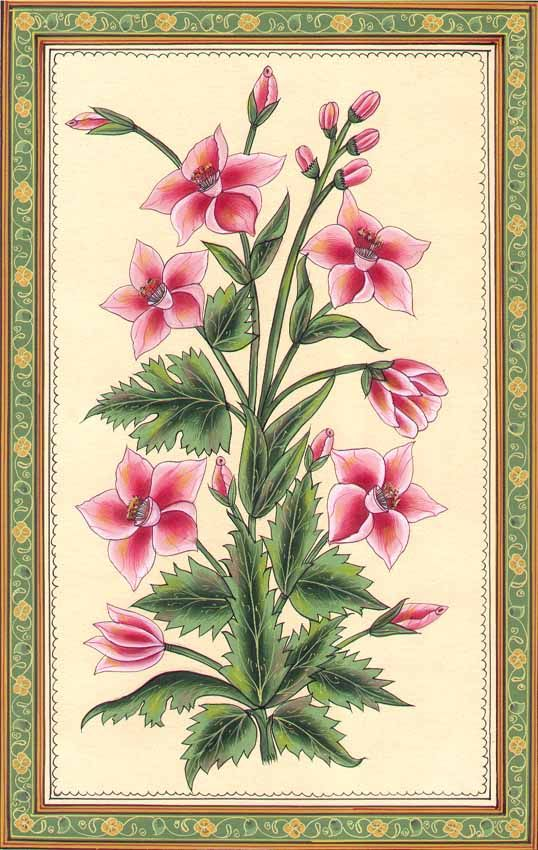 """Mughal Flower"" ~ Water Color Painting On Paper."